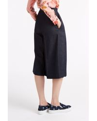 MSGM - Blue Pleated Chambray Culottes - Lyst