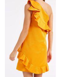 MSGM - Black Ruffle One Shoulder Dress - Lyst
