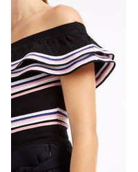MSGM - Black Stripe Off The Shoulder Top - Lyst