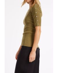 Alexander Wang - Green Crew Neck Split Sleeve Top - Lyst