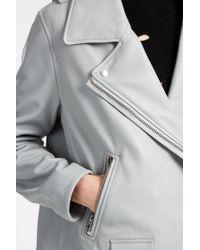 Acne Studios - Gray Swift Leather Biker Jacket - Lyst