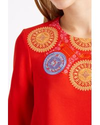 Peter Pilotto - Multicolor Red Embroidered Athena Cropped Blouse - Lyst