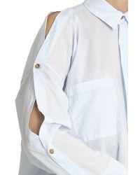Helmut Lang - Blue Button-sleeved Cotton Shirt - Lyst
