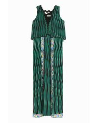 Mary Katrantzou | Green Fanburn Snuffbox-Print Crepe Maxi Dress | Lyst
