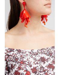 Oscar de la Renta - Red Impatiens Flower Drop Earrings - Lyst