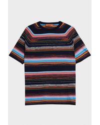 Missoni Blue Striped Cotton-jersey T-shirt for men