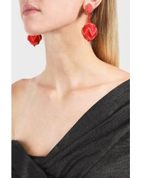 Oscar de la Renta - Red Chevron Ball Earring - Lyst