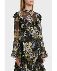 Erdem Multicolor Wanda Floral Print Silk Blouse