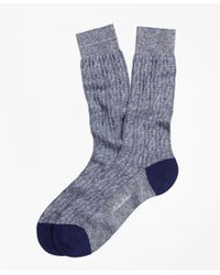 Brooks Brothers | Blue Marled Cable Crew Socks for Men | Lyst