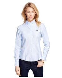 Brooks Brothers - Blue Petite Non-iron Tailored Fit Supima® Cotton Dress Shirt - Lyst