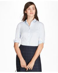 Brooks Brothers | Blue Non-iron Tailored-fit Chevron Dobby Cotton Poplin Shirt | Lyst