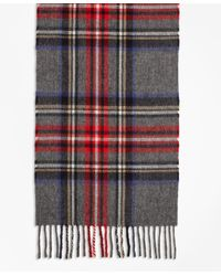 Brooks Brothers - Gray Tartan Lambswool Scarf for Men - Lyst