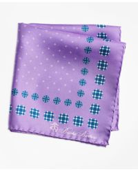 Brooks Brothers - Purple Plaid And Dot Pocket Square for Men - Lyst