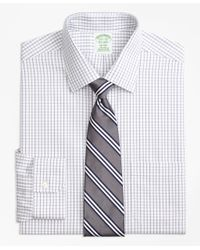 Brooks Brothers - Gray Milano Slim-fit Dress Shirt, Non-iron Tonal Check Windowpane for Men - Lyst