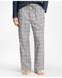 Brooks Brothers - Gray Windowpane Flannel Lounge Set for Men - Lyst