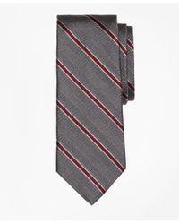 Brooks Brothers - Gray Herringbone Framed Stripe Tie for Men - Lyst