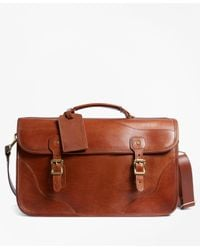 Brooks Brothers - Brown J.w. Hulme Leather Document Briefcase for Men - Lyst