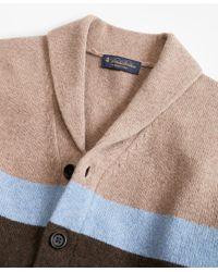 Brooks Brothers - Brown Merino Wool Color-block Shawl Collar Cardigan for Men - Lyst