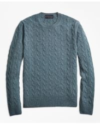 Brooks Brothers - Green Two-ply Cashmere Cable Crewneck Sweater for Men - Lyst