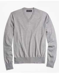 Brooks Brothers - Gray Brookstech Merino Wool V-neck Sweater for Men - Lyst