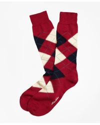 Brooks Brothers - Red Argyle Crew Socks for Men - Lyst