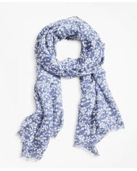 Brooks Brothers - Blue Floral-print Oblong Scarf - Lyst
