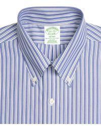 Brooks Brothers - Blue Milano Slim-fit Dress Shirt, Non-iron Bold Split Stripe for Men - Lyst