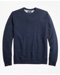 Brooks Brothers Blue Garment-washed Crewneck Sweatshirt for men