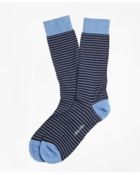 Brooks Brothers - Blue Bright Stripe Crew Socks for Men - Lyst