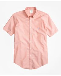 Brooks Brothers Orange Non-iron Brookscool® Milano Fit Short-sleeve Sport Shirt for men