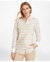 Brooks Brothers - Natural Striped Dobby Cotton Double-collar Fitted Shirt - Lyst