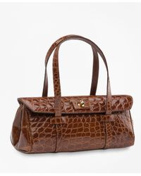 Brooks Brothers | Brown Alligator Mini Satchel | Lyst