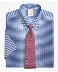 Brooks Brothers - Blue Madison Classic-fit Dress Shirt, Non-iron Framed Check Short-sleeve for Men - Lyst