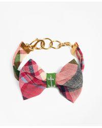 Brooks Brothers | Kiel James Patrick Pink And Green Madras Bow Bracelet | Lyst