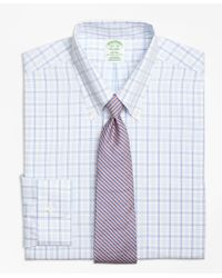 Brooks Brothers - Blue Regent Fitted Dress Shirt, Non-iron Alternating Twin Tattersall for Men - Lyst