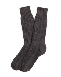 Brooks Brothers | Gray Cashmere Cable Crew Socks for Men | Lyst