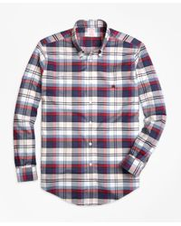 Brooks Brothers | Blue Non-iron Madison Fit Heathered Plaid Sport Shirt for Men | Lyst