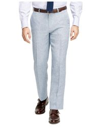 Brooks Brothers | Blue Fitzgerald Fit Linen Check Trousers for Men | Lyst