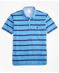Brooks Brothers | Blue Supima® Jersey Stripe Button-down-collar Polo Shirt for Men | Lyst