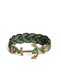 Brooks Brothers - Kiel James Patrick Green And Brown Leather Braided Bracelet for Men - Lyst