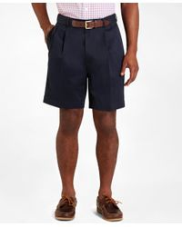 Brooks Brothers | Blue Pleat-front Lightweight Advantage Shorts for Men | Lyst