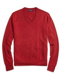 Brooks Brothers | Red Saxxon Wool V-neck Sweater for Men | Lyst