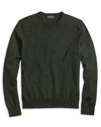 Brooks Brothers - Green Saxxon Wool Crewneck Sweater for Men - Lyst