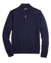 Brooks Brothers - Blue Saxxon Wool Half-zip Sweater for Men - Lyst