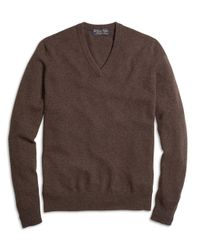 Brooks Brothers | Brown Cashmere V-neck Sweater | Lyst