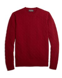 Brooks Brothers | Purple Cashmere Cable Crewneck Sweater for Men | Lyst