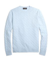 Brooks Brothers | Blue Cashmere Cable Crewneck Sweater for Men | Lyst