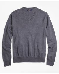 Brooks Brothers | Gray Saxxon Wool V-neck Sweater for Men | Lyst