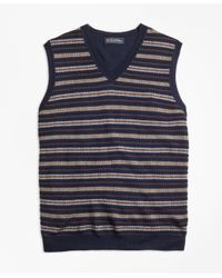 Brooks Brothers | Blue Merino Wool Fair Isle Vest for Men | Lyst