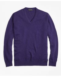 Brooks Brothers   Purple Cashmere V-neck Sweater for Men   Lyst